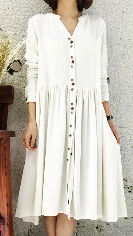 White Linen dress for summer designed in 2016