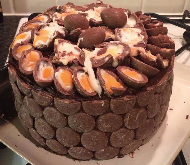 Cadburys creme egg cake  Someone commented a chocolate cake with chocolate frosting. Another previous comment said the sides were covered with Creme Egg Splats. Never heard of those here in Ontario, but can always use Reese's Peanut Butter Eggs.