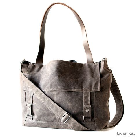 The Letter Bag  in waxed canvas from @Moop Shop #smallbizsaturday #shopsweetandspirited