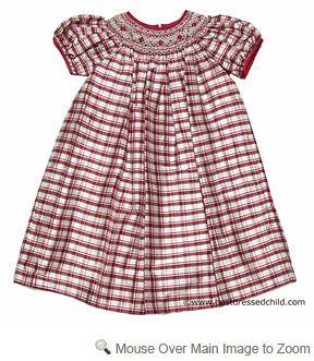 Anavini Girls Stella Red / Ivory Holiday Plaid Silk Smocked Christmas Dress