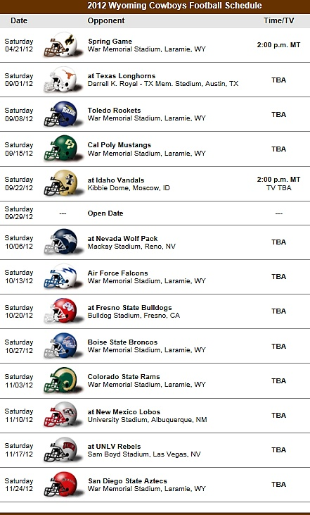 Wyoming Cowboys 2012 Football Team schedule
