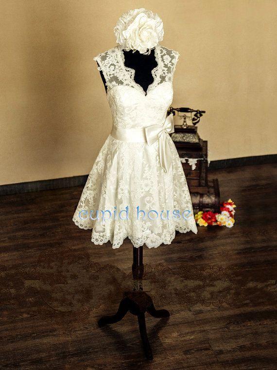 Short Lace Reception Dress Simple Straps Sleeveless V-neck Backless Cheap White Ivory Tea-length Lace Wedding Dress Wedding Party Dress 2014...