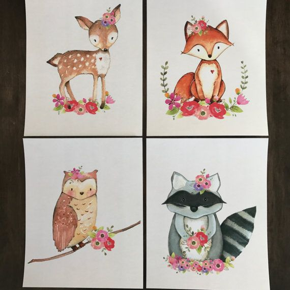 Floral Woodland Nursery Art, Woodland Nursery Prints for Girls, Baby Girl Woodland Nursery Art Print Set of 4 8x10 Prints. (Set of 4) 8x10 prints.  This sweet print set is the perfect compliment to the current woodland theme nursery trend. The prints stand out perfectly on their own, but would also be great as part of an adorable nursery gallery wall. This set would be equally adorable in a older (but still little) girl bedroom or as part of a fun kids playroom.  Want to DIY and print it…