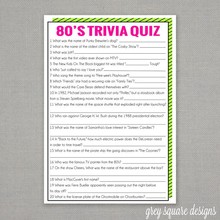 80's Trivia Quiz Game by GreySquare on Etsy