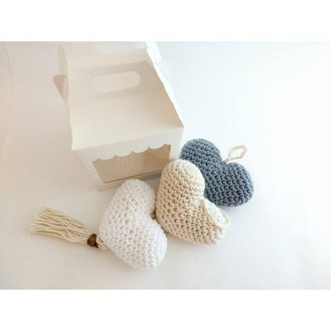 Movil De Corazones En Crochet C/ Cajita