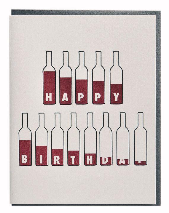 Bottle of Wine Birthday Card Wine Lovers Letterpress