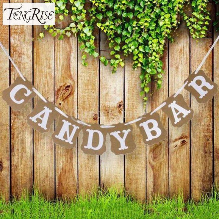 FENGRISE Candy Bar Kraft Kertas Karton Bunting Banner Garland Vintage Pernikahan Dekorasi Sign Baby Shower Birthday Party Buffet