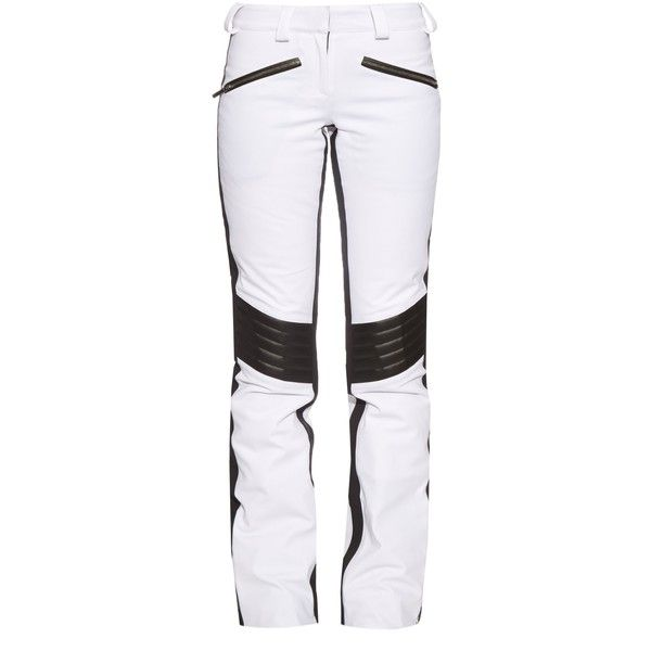 Lacroix Distinction padded-knee ski trousers ($605) ❤ liked on Polyvore featuring pants, white black, ski pants, padded pants, waterproof pants, quilted pants and ski trousers