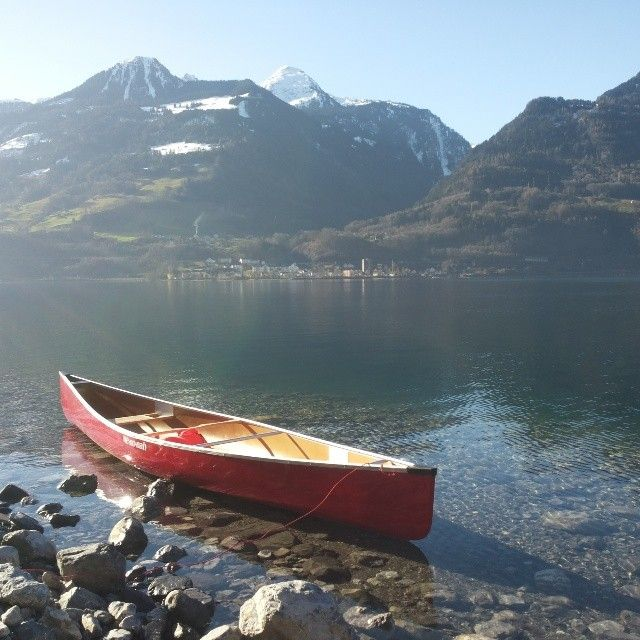 Canoe on the #LakeWalen (#Walensee) in the #Heidiland Holiday Region. More on www.instagram.com/swissheidiland