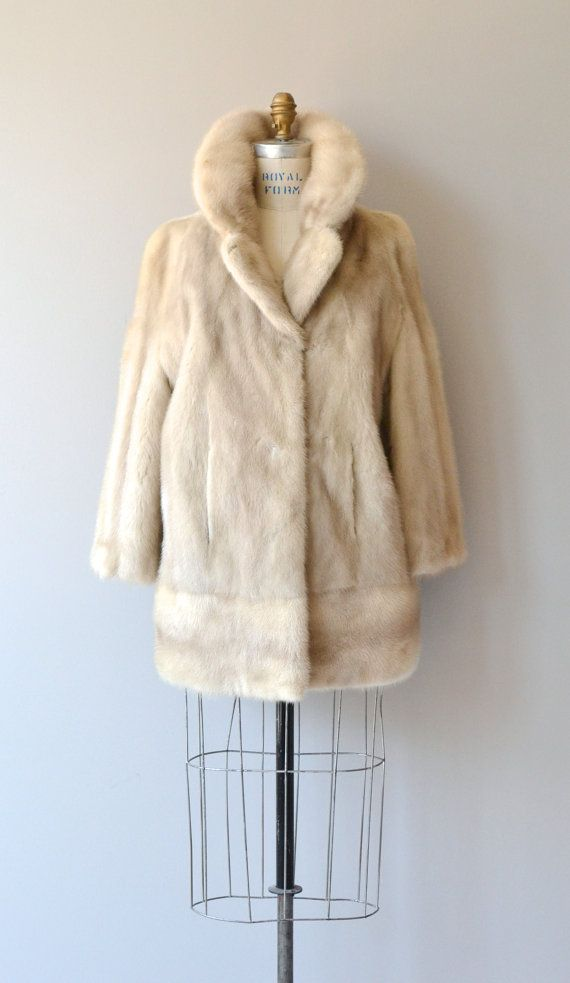 Pearl Mink coat 1960s fur coat blonde mink 60s fur by DearGolden