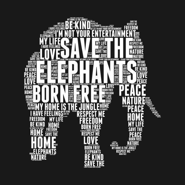 Check Out This Awesome Elephants Word Cloud Art Design On