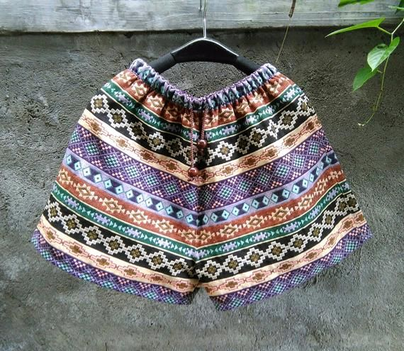 Elastic Waistband Shorts, Women Shorts, Summer Shorts, Beach Shorts, Tribal Shorts, Woven Fabric Shorts, Limited Fabric