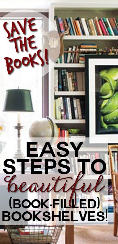Simple steps to decorating your bookshelves with ACTUAL books, like a designer!