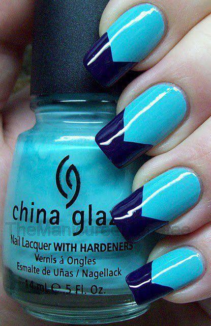 Uñas azules largas - Long blue nails