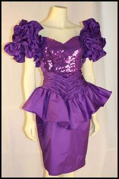 80s prom dress purple sequin peplum detail