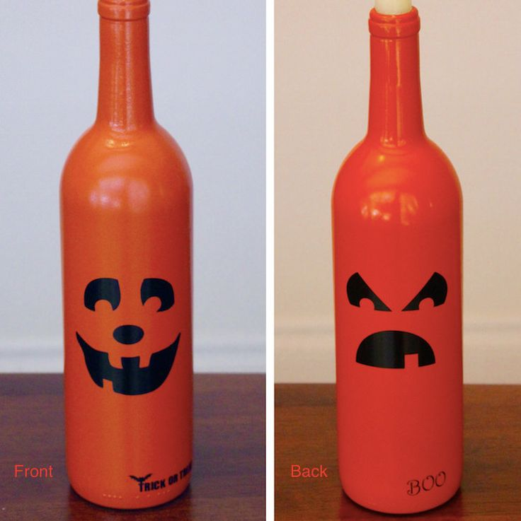 Pumpkin Wine Bottles, Halloween Wine Bottles, Halloween Decorations, Trick or Treat, Double Sided Wine Bottle, Up-cycled by BriEllaCreations on Etsy