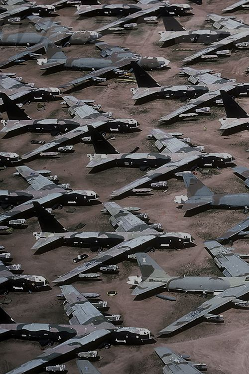 B-52 Superfortress bombers at the Davis-Monthan AFB airplane graveyard in Tucson, Arizona