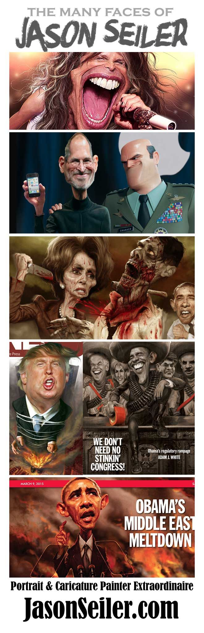 In this issue of Creative Tidbits, we visit the awesome talents of Jason Seiler -- celebrated caricature artist with these fabulous renderings of Obama, Donald Trump, Bernie Sanders, Bill Cosby, Hillary Clinton, and others  . . . and don't forget : if you've got favorites, just let us know!   #jasonseiler #photoshopportraits #60seconds #60-seconds