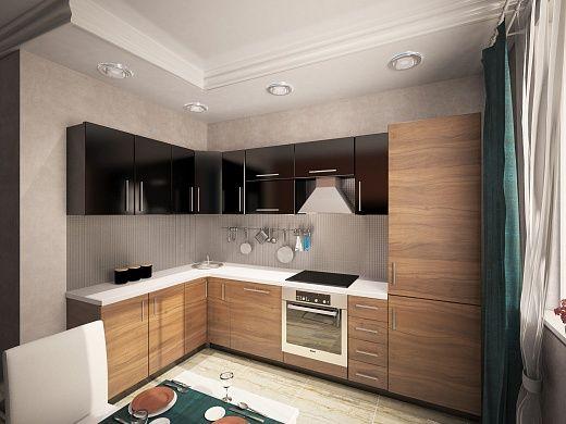 Кухня в комплекте, каркас которой выполнен из ДСП, занимает две стенки. Нижняя часть мебели «под дерево», столешница влагостойкая из ДСП со стойким пластиковым покрытием белого цвета. Верхние ящики сделаны в черном цвете. Холодильник «прячется» за панелями древесного цвета.