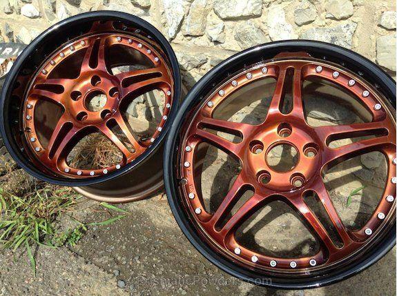 Copper Wheels, Custom Wheels, Powder Coated, Powder Coating, Prismatic Powders - Ink Black and Roman