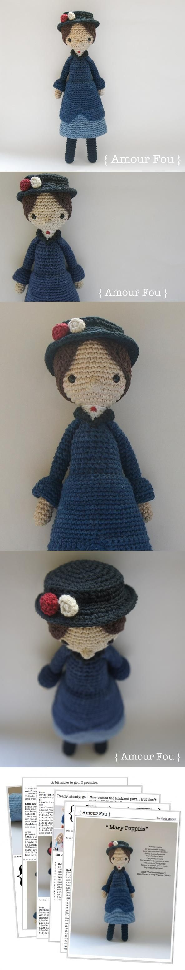 Mary Poppins Amigurumi Pattern - @amylynnmazz would you knit one for the raffle?!