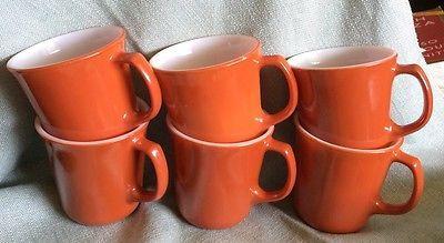 6 Vintage Burnt Orange Corning Ware Coffee Tea Hot Cider Mugs Cups - RETRO