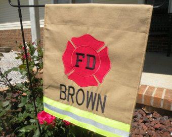 Personalized Firefighter/fire man/ fire Department Garden Flag