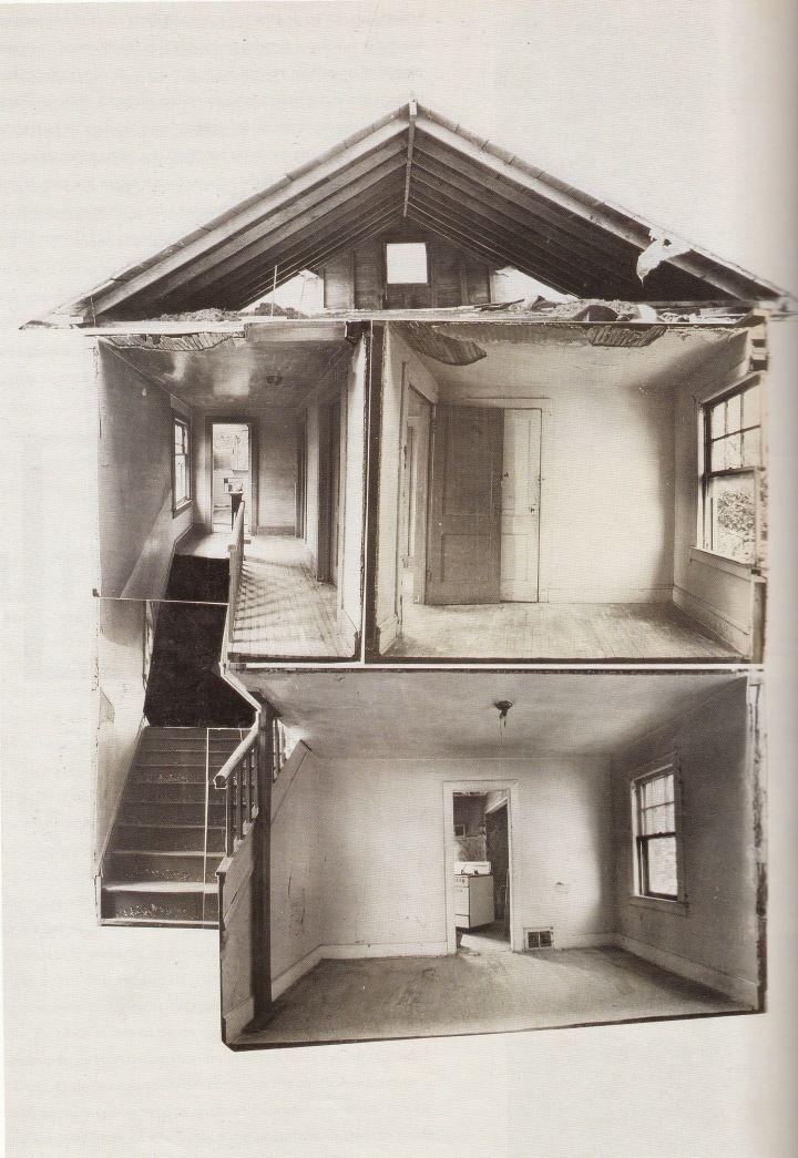 Matta-Clark, Splitting in Englewood (Cross section), 1974, photomontage
