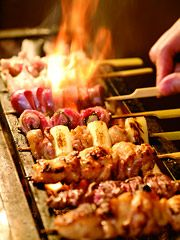 "Japanese food - Yakitori (chicken. pieces.grilled. on a skewer. )""-""."