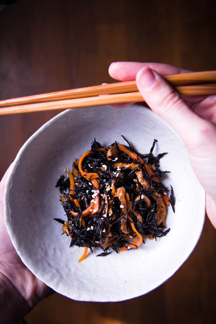 Japanese Hijki (seaweed) with Carrots and Fried Tofu
