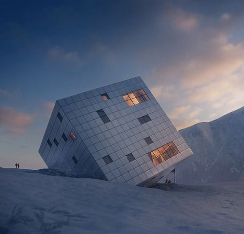Proposed mountain hostel by Atelier 8000.