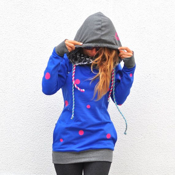 Unique womens hoodie | cotton long sweatshirt | polka dot | surf & snowboard | pink, blue, grey | big hood, | finger hole | colorful