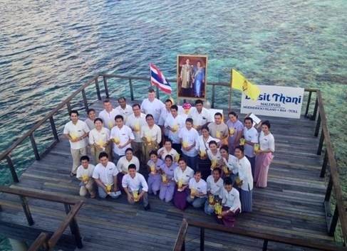 On the auspicious occasion of the 87th birthday of His Majesty the King Bhumibol Adulyadej, the team at Dusit Thani Maldives extended sincere wishes for health and happiness of the king. Team members from varied departments of the resort gathered and proudly stood to mark this day of celebrations.