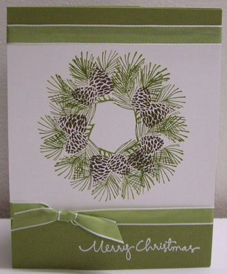 Stamps:  Autumn Days, Christmas Greetings (SU!)  Paper:  Old Olive, Whisper White (SU!)  Ink:  Old Olive, Early Espresso, VersaMark (SU!)  Accessories & Tools:  circle template, pencil & eraser, white embossing powder, heat tool, Mistletoe ribbon, sticky strips and adhesives