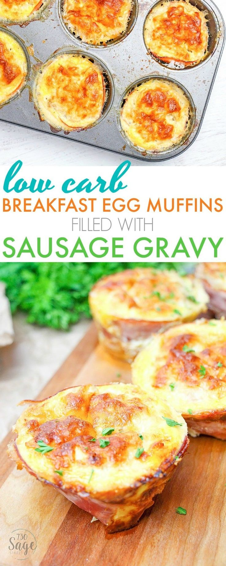 These low carb breakfast egg muffins are super easy to make and so delicious! Stuffed with yummy sausage gravy. Perfect to make ahead & reheat each morning for low carb & ketogenic diets. via @730sagestreet