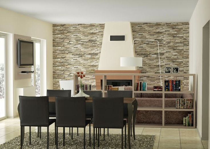 Textured Wall Tiles In Dining Room
