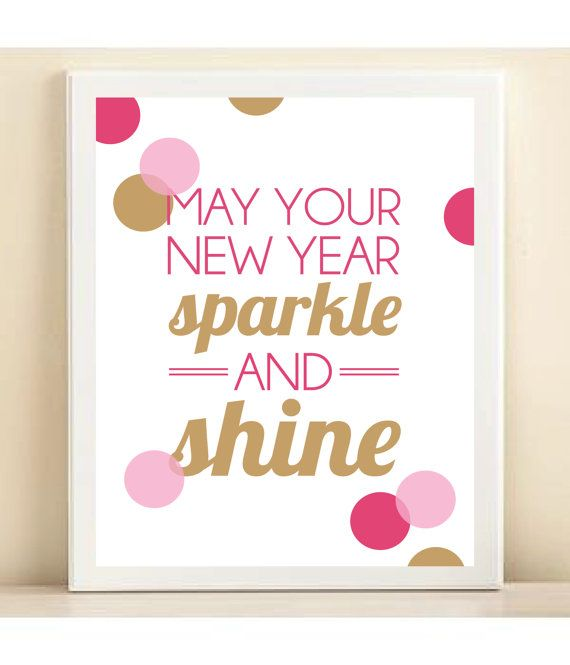 Pink and Gold 'May Your New Year Sparkle and Shine' print poster
