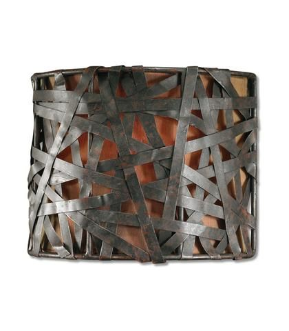 Lighting   Metal Straps Wall Sconce Lighting   Black