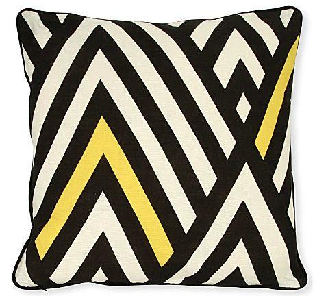 Black and Yellow Chevron Cushion by A Mind's Eye. 100% linen, digital print.