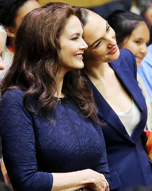 Gal Gadot and Lynda Carter attend the Wonder Woman UN Ambassador Ceremony at United Nations on October 21, 2016 in New York City