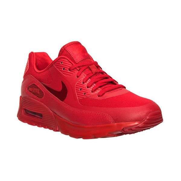 Nike Women's Air Max 90 Ultra Essentials Running Shoes ($120) ❤ liked on Polyvore featuring shoes, athletic shoes, red, nike, red athletic shoes, light weight shoes, light weight running shoes and slim shoes