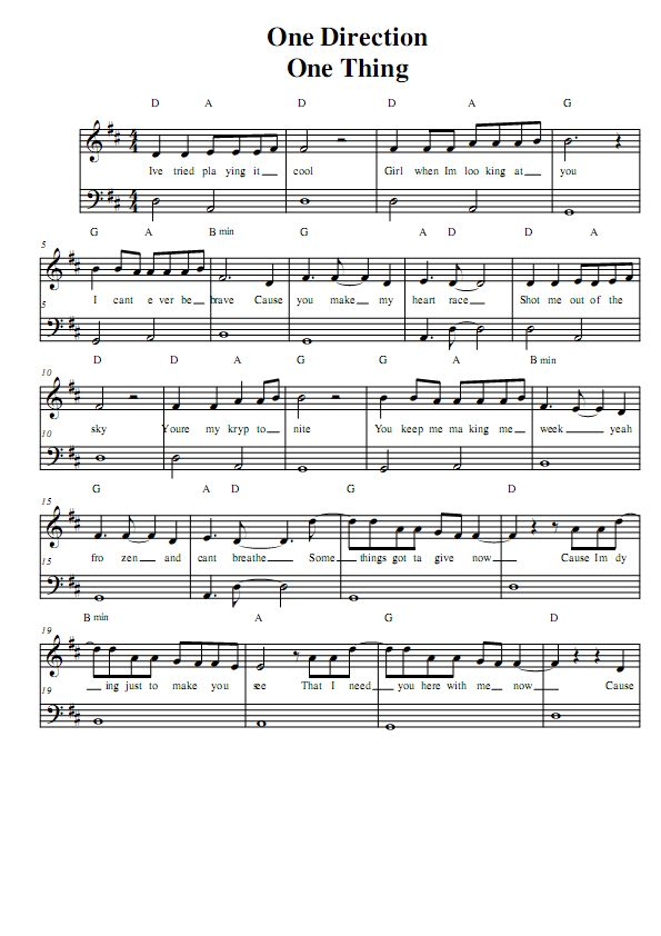 guitar song notes one direction one thing one direction piano sheet music music in 2019. Black Bedroom Furniture Sets. Home Design Ideas