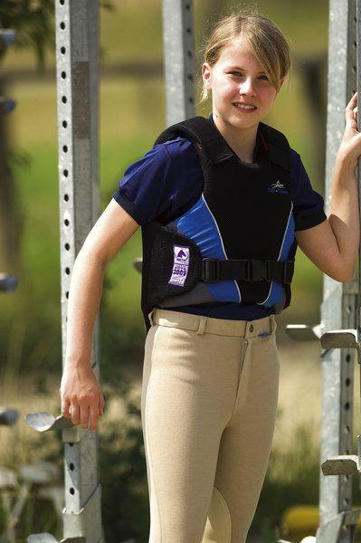 Gilet protettivo bambini Equi-thème, leggero e flessibile, si adatta bene al corpo, regolazione spalle e chiusura con velcro.