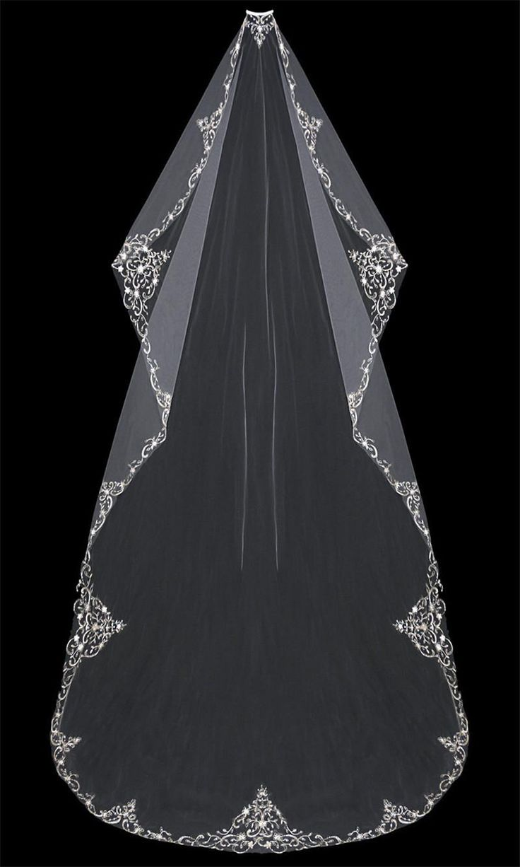 Chapel Length Veil Cheap 2015 Bridal Veils Cathedral Length 300 Cm Free Comb For Wedding Bridal Veil Lace Applique Embroidery Sheer Tulle Rhinestone Sequins Bridal Veil Ideas From Huifangzou, $38.93| Dhgate.Com