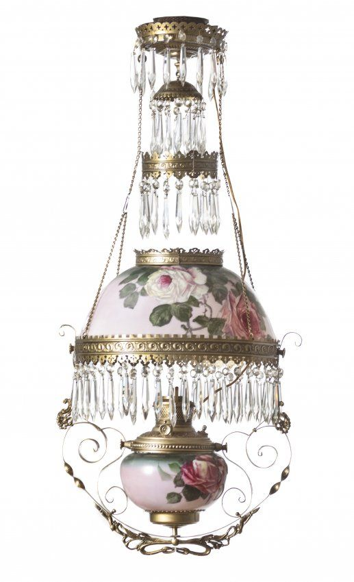 A late victorian enameled glass hanging oil · victorian lampsvictorian furnitureantique