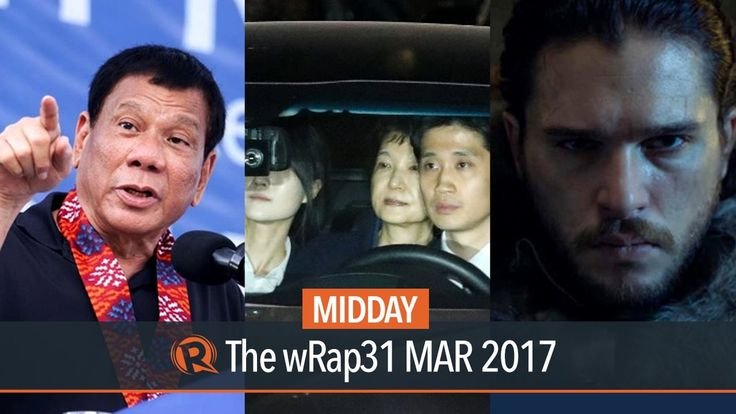 NUJP on Duterte, Park, Game of Thrones | Midday wRap - WATCH VIDEO HERE -> http://dutertenewstoday.com/nujp-on-duterte-park-game-of-thrones-midday-wrap/   Today on Rappler: The National Union of Journalists of the Philippines slams President Rodrigo Duterte for what it calls an 'absolutely twisted' rant against news outlets ABS-CBN and the Philippine Daily Inquirer. South Korea's ousted president Park Geun-Hye is arrested. The...