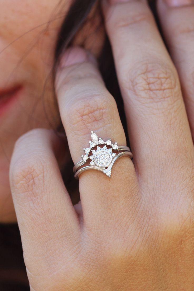 gorgeous and dainty diamond engagement rings set Unique fantasy diamond