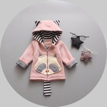 Autumn Winter Baby Girls Infants Kids Cartoon Striped Hooded Jacket Coats Outwears Christmas Gifts Roupas De Bebe Casaco S4049(China (Mainland))