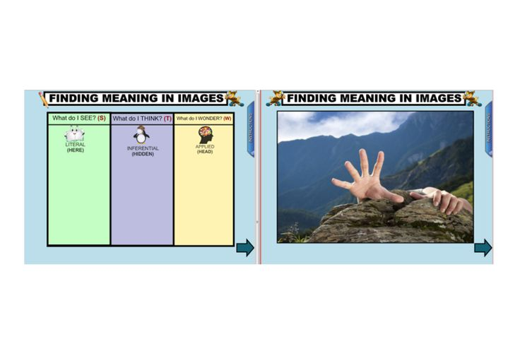Introduce students to visual literacy with this engaging IWB lesson. Help students to understand the importance of viewing images with the purpose of comprehension. Use a variety of graphic organisers and thinking tools to help students think more deeply about images. http://schools.interactivelessons.com.au/ http://interactivelessons.com.au/