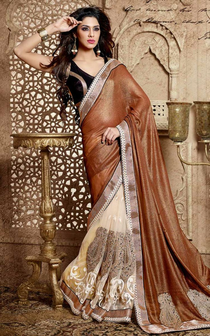BROWN & BUTTERCREAM GEORGETTE EMBROIDERED SAREE - DIFF 28342